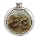 Woodcock Round Pewter Picture Flask