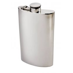 Plain Kidney Hip Flask With Captive Top 8oz