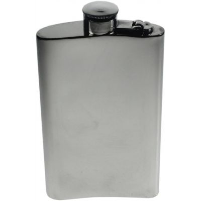 Plain Kidney Hip Flask With Captive Top 8oz